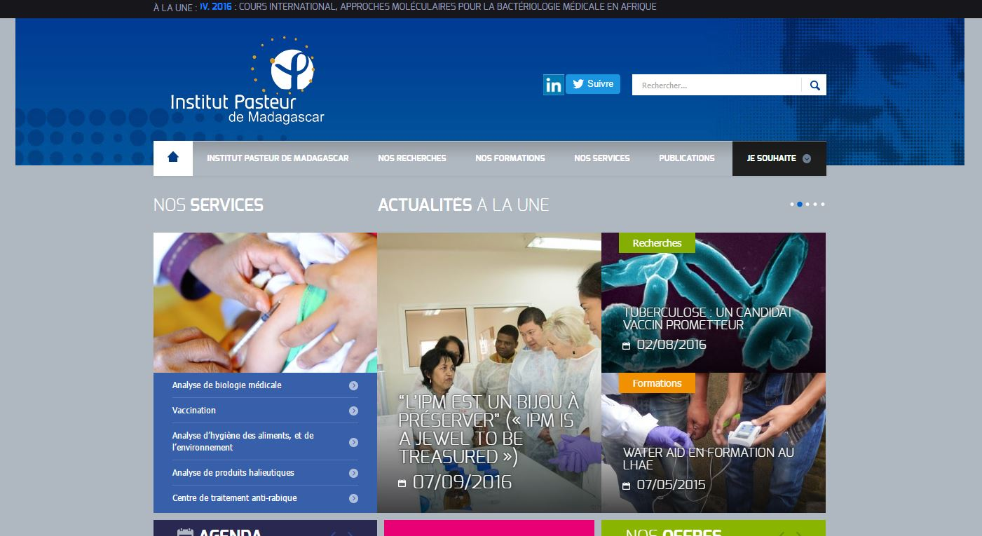 <h3>Institut Pasteur</h3><p>website<br><a href='http://www.pasteur.mg/' target='_blank'>www.pasteur.mg</a></p>